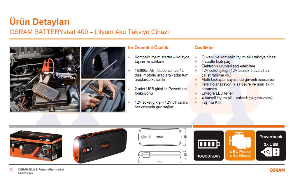 Osram Akü Takviye Cihazı 400 OBSL400